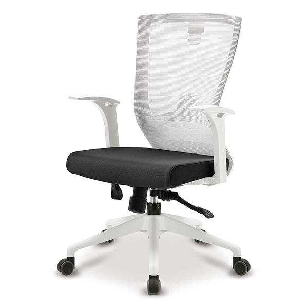 S10 화이트 고정팔 A형 중형 메쉬 사무용 의자