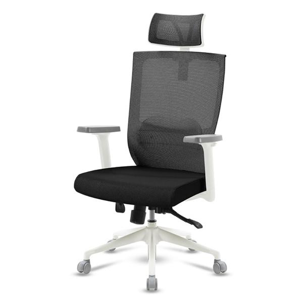 S30 화이트 조절팔 대형 메쉬 사무용 의자