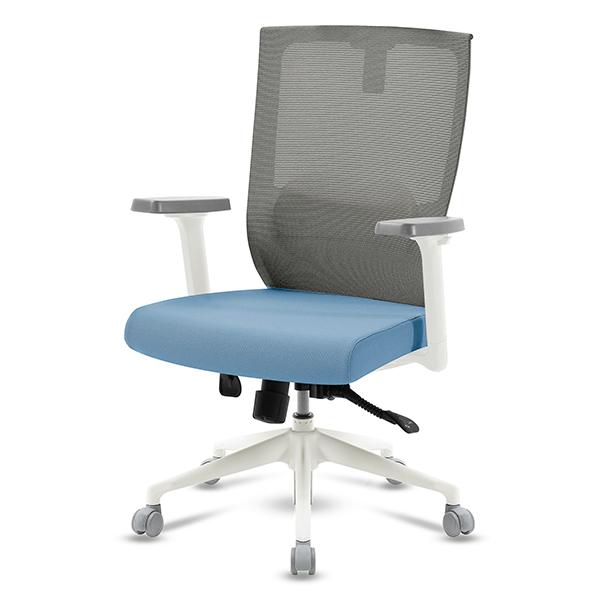 S30 화이트 조절팔 중형 메쉬 사무용 의자